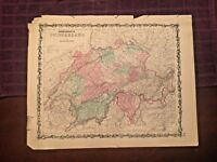 1863 Johnson & Ward Hand Colored Atlas Map of SWITZERLAND