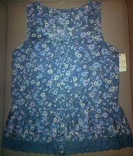 SONOMA Women's Juniors Sleeveless Top/Blouse, Blue, Floral, Size M, NEW, 50% OFF
