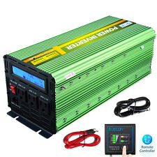 2500W 5000 Watt Power Inverter Pure Sine Wave 12V dc 110V 120V ac LCD Truck Car