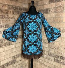 Lady's World Blue & Black All Over Print Tunic Top With Fringe Women's Size S