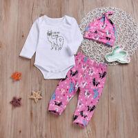 3PCS Newborn Baby Girl Outfits Clothes Set Alpaca Romper Bodysuit+Pants Leggings