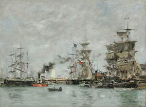 Eugene Boudin The Port of Deauville Giclee Art Paper Print Poster Reproduction