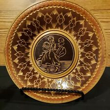 Vintage Wood Carved Plate 8 Inches Man And Woman