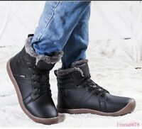 Mens Womens Flats shoes Round toe Lace up Winter Warm Fur Casual Ankle boots