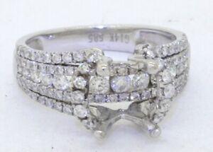14K white gold 1.0CTW diamond wedding/engagement ring semi-mounting size 5.5