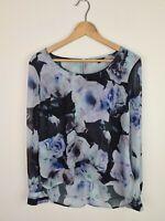 Portmans Floral Sheer Layered Blouse Business Hi Low Top Women's Size 10