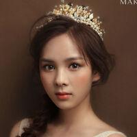 Rhinestone Crystal Pearl Tiara Hair Band Bridal Princess Prom Crown Headband