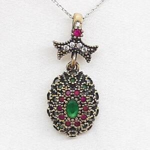 Deco .80ctw Emerald, Ruby & Diamond Cut Sapphire 14K Yellow Gold Silver Pendant
