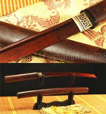 JAPANESE SWORD TANTO FOLDED STEEL FULL TANG BLADE ROSEWOOD SAYA VERY SHARP