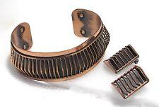 "Vtg 1950s RENOIR ""Shadows"" Wire Copper Cuff Bracelet & Ear Clips Set Mid Century"