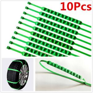 10Pcs Green Nylon Tire Snow Chain Emergency Wheel Zip Tie Belt Strap For Car SUV