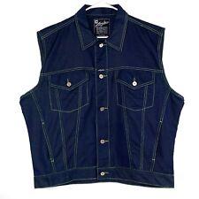 Karl Kani Jeans Dark Blue Green Trim Denim Vintage 90s Hip Hop Vest Size XL