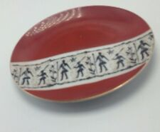 YAMATAKE Bread Plate China Japan Red Rust White Figures Neoclassical Gold Trim