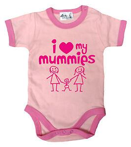 "LGBT Baby Bodysuit ""I Love My Mummies"" Babygrow Vest Gay Pride Gift"
