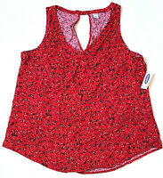 Old Navy Sleeveless V-Neck Keyhole Top, Abstract Red, Large MSRP $24.99