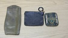 3 antique leather items 2 coin purses one handmade eye glass case hinges zipper