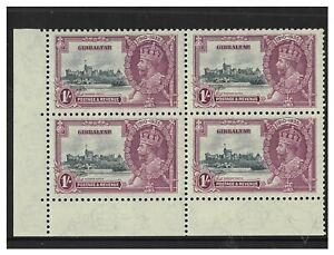 Gibraltar 1935 Silver Jubilee 1/- Lower Left Marginal Block/4 Stamp SG117a 12-19