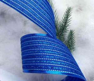 LUXURY WIRED CHRISTMAS RIBBON ROYAL DARK BLUE STRIPE SPARKLY SHIMMER 1m x 63mm