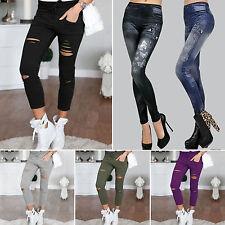 Donna Stretch Sbiadito Strappato Pantaloni Jeans Slim Aderente leggings