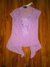 Women's August Silk Light Violet Sleeveless Ruffled Top Size S NEW With Tag