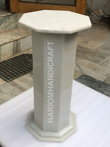 "28""H 15"" Dia White Marble Stand Table Top Base Hallway Decor Furniture E567(1)"