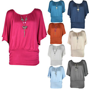 Womens Plus Size Frill Necklace Gypsy Tunic Short Sleeve Long V Neck Tops 12-22