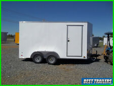 special 7 x 14 white Led light enclosed cargo motorcycle hauler trailer tandem