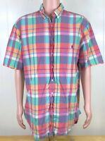 Ralph Lauren Plaid Colorful Short Sleeve Button Shirt Mens Classic Fit XLT Tall