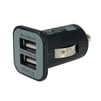 2-Port Mini Universal Dual USB Car Charger Adapter Bullet, 5V 2.1A + 1A, Black