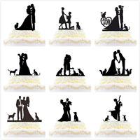 Acrylic Funny Family Wedding Cake Topper Bride Groom Dogs Cats Decor New Black