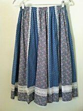Vintage 70's skirt BOHO blue pink floral white lace a line mid calf size XS S M