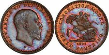 Great Britain. 1902 Coronation Model 1/2 Farthing, PCGS MS64BN. Nicely toned.