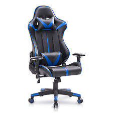 Racing Chaise en similicuir Chaise de Gaming chaise de bureau Bleu Noir BS13bl