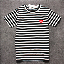 Men's Comme Des Garcons CDG Play Striped Red Heart SHORT Sleeve Women's T-shirts