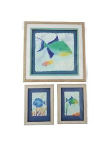 Marino Fish Art Figi Hand Cast Paper 3D  Picture Signed Nautical Beach x3 Framed