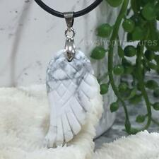 New Howlite Angel Wing Gemstone Pendant on Genuine Leather Necklace