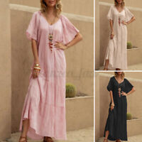UK Women Summer Bohemia Short Sleeve Tiered Sundress Flare Swing Long Maxi Dress