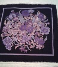 """Vintage Woman's Decorative Scarf - Purple Flowers & Leaves on Black - 32"""""""