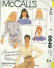 Vintage Misses Shirts Sewing Pattern M8649 Size 10