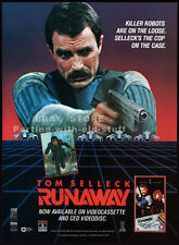 RUNAWAY__Original 1985 print AD / movie promo advert__TOM SELLECK__GENE SiMMONS