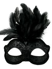 Black Glitter Face Eye Mask with Feathers Fancy Dress Venetian Masquerade