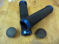 LOCK-ON BIKE/CYCLE HANDLEBAR GRIPS – COLOUR BLACK WITH BLUE ENDS .NEW..