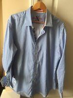 Robert Graham Blue Long sleeve button down shirt Tailored Fit Men's Size XL