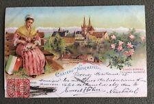 CPA. Château de NEUCHATEL. Suisse. 1904. Costume. Cachet Brasserie HOHN. Linnée