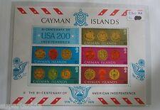 1976 CAYMAN ISLANDS #376a SOUVENIR SHEET OF STAMPS BI-CENTENARY