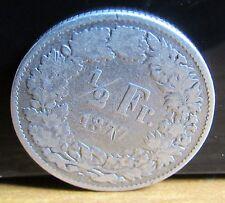 1877 marchio di zecca B 1/2 MEZZO FRANCO ARGENTO SVIZZERA SWISS Coin