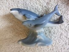 Blue Gray Whale Mother & Baby Calf Ceramic Figurine