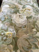 One WAVERLY GREEN YELLOW BLUE PARCHMENT FLORAL Curtain Panel 84L Nwop