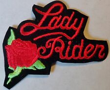 LADY RIDER VEST PATCH  -  RED ROSE - BIKER - NEW EMBROIDERED