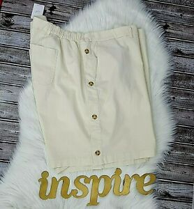 J Jill Womens Shorts Tan Side Button Detail Flat Front 4 Pocket Linen Size 28W
